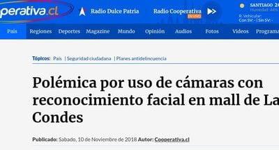 Polémica por uso de cámaras con reconocimiento facial en mall de Las Condes