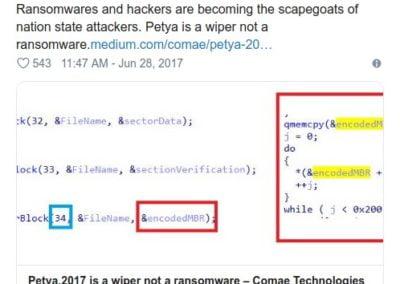 mensaje de experto indicando finalidad es ataque y no rescate de información encriptada